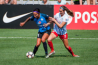 Kansas City, MO - Saturday September 9, 2017: Sydney Leroux Dwyer, Kathleen Naughton during a regular season National Women's Soccer League (NWSL) match between FC Kansas City and the Chicago Red Stars at Children's Mercy Victory Field.