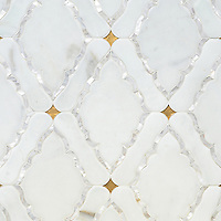 Josephine, a waterjet mosaic shown in Shell, Venetian honed Calacatta and honed 24K Gold Glass, is part of the Aurora&trade; Collection by Sara Baldwin for New Ravenna.<br />