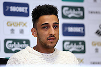 Thursday, 27 March 2014<br /> Pictured: Neil Taylor<br /> Re: Swansea City FC press conference at the Liberty Stadium,ahead of this Saturday's Premier League game against Norwich.