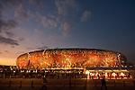 02.07.2010, Soccer City Stadium, Johannesburg, RSA, FIFA WM 2010, Viertelfinale, Uruguay (URU) vs Ghana (GHA) im Bild das Soccer City Stadion in Johannesburg, Feature, von aussen, beleuchtet in der blauen Stunde,  Foto: nph /   Vid Ponikvar, ATTENTION! Slovenia OUT