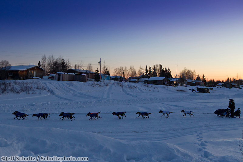 Magnus Kaltenborn leaves the Nikolai checkpoint in the early hours on Wednesday during Iditarod 2011