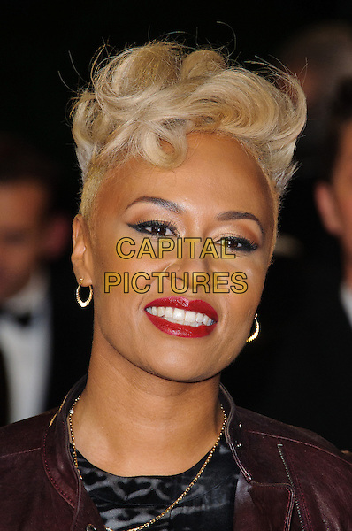 Emeli Sande .Royal World Premiere of 'Skyfall' held at the Royal Albert Hall, London, England..October 23rd, 2012.headshot portrait black red lipstick maroon leather .CAP/CJ.©Chris Joseph/Capital Pictures.