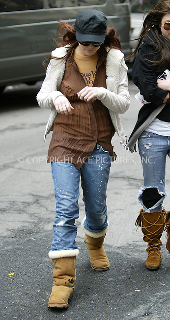 WWW.ACEPIXS.COM . . . . .  ....NEW YORK, MARCH 29, 2005....Lindsay Lohan on the set of 'Just My Luck.'....Please byline: Ian Wingfield - ACE PICTURES..... *** ***..Ace Pictures, Inc:  ..Craig Ashby (212) 243-8787..e-mail: picturedesk@acepixs.com..web: http://www.acepixs.com