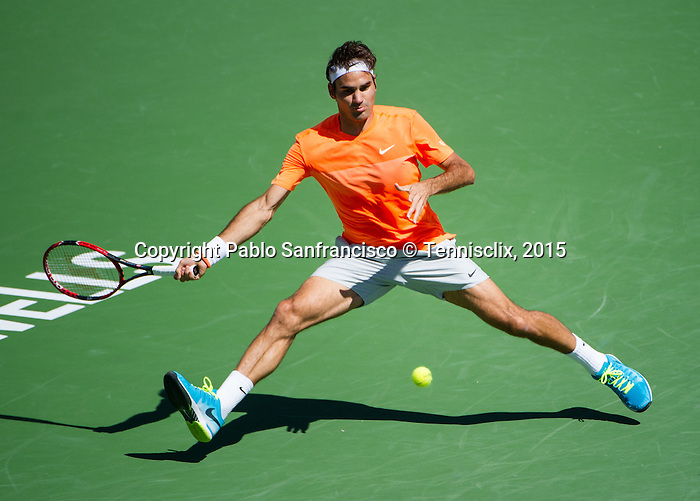 Roger Federer (SUI) during his semifinal match against Milos Raonic (CAN) at the BNP Parisbas Open in Indian Wells, CA on March 21, 2015.