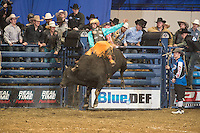 Zane Cook attempts 212 XD Sports Soul Patch of Soggy Hill Cattle Co. during the PBR Blue Def Tour event in Hampton, VA - 3.5.2016. Photo by Christopher Thompson
