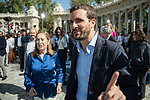 Pablo Casado, Ana Pastor and Isabel Diaz Ayuso in the presentation of the Partido Popular program<br />  October 13, 2019. <br /> (ALTERPHOTOS/David Jar)