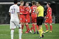 30th July 2020; Bankwest Stadium, Parramatta, New South Wales, Australia; A League Football, Adelaide United versus Perth Glory; Kristian Opseth of Adelaide United celebrates his goal with Ben Halloran of Adelaide United