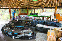 Namotu Island, Fiji (Sunday, June 2, 2013) After a very wet crossing from the mainland the crews surfboard travel bags are ready to be unloaded. - Onshore winds and small surf on offer this morning prompted Volcom Fiji Pro event organizers to call a lay day for competition as the remainder of the window is projecting increased surf and improved conditions.<br /> Event No. 4 of 10 on the 2013 ASP World Championship Tour, the Volcom Fiji Pro has brought the world's best surfers to one of the world's most idyllic surfing destinations in the South Pacific. Over the course of the 13-day window, the ASP Top 34 will do battle at the primary venue of Cloudbreak and potentially the secondary venue of Restaurants as this season's hunt for the world surfing crown continues.<br /> ?Only small surf on offer this morning with poor wind conditions,? Rich Porta, ASP International Head Judge, said. ?We've called a lay day for competition and expect improved conditions throughout the remainder of the event window. We'll be back tomorrow morning to make another assessment.?<br />  Photo: joliphotos.com