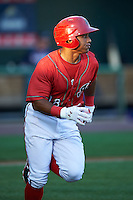 Harrisburg Senators shortstop Wilmer Difo (18) runs to first during a game against the New Hampshire Fisher Cats on July 21, 2015 at Metro Bank Park in Harrisburg, Pennsylvania.  New Hampshire defeated Harrisburg 7-1.  (Mike Janes/Four Seam Images)