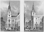 Churches St James's, Clerkenwell, St Margaret Pattens, Rood Lane, engraving 'Metropolitan Improvements, or London in the Nineteenth Century' London, England, UK 1828 , drawn by Thomas H Shepherd