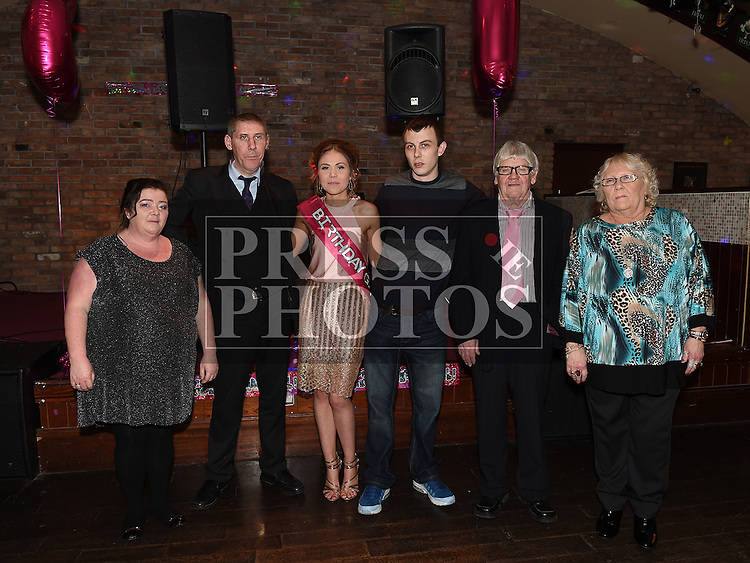 Rosie Smith celebrating her 21st birthday with partner Ross Flood and their parents Martin and Aggie Smith and Liam and Rose Flood in The Venue at McHugh's. Photo:Colin Bell/pressphotos.ie