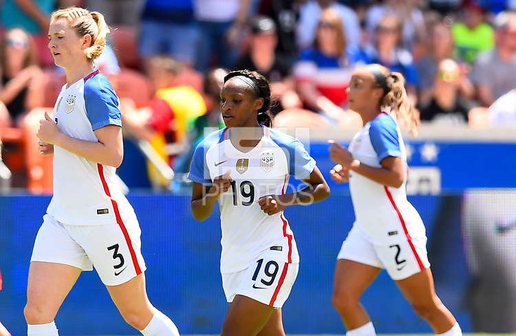 Houston, TX - April 9, 2017: The U.S. Women's national team go up 4-1 over Russia with Crystal Dunn contributing a goal in an international friendly match at BBVA Compass Stadium.