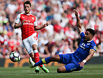 Mesut Ozil of Arsenal and Everton's Ashley Williams during the English Premier League match at the Emirates Stadium, London. Picture date: May 21st 2017.Pic credit should read: Charlie Forgham-Bailey/Sportimage