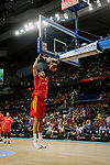 Willy Hernangomez of Spain warms up before the Friendly match between Spain and Dominican Republic at WiZink Center in Madrid, Spain. August 22, 2019. (ALTERPHOTOS/A. Perez Meca)
