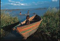 Children playing in Lake Baringo, Kenya.