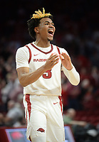 Arkansas guard Desi Sills celebrates Wednesday, Jan. 15, 2020, during the second half against Vanderbilt in Bud Walton Arena. Check out nwaonline.com/photos for a gallery from the game. (NWA Democrat-Gazette/Andy Shupe)
