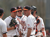 Matt Packer (15), Sean Doolittle (21), Brian O'Connor (26) and Beau Seabury (16) of the Virginia Cavaliers vs. the Miami Hurricanes:  March 24th, 2007 at Davenport Field in Charlottesville, VA.  Photo By Mike Janes/Four Seam Images
