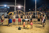 The Bororo men win the tug of war. International Indigenous Games, in the city of Palmas, Tocantins State, Brazil. Photo © Sue Cunningham, pictures@scphotographic.com 31st October 2015