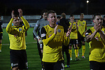 Edinburgh City's Sean Muhsin, Shaun Harrison and Ian McFarland celebrating their 1-0 victory at the final whistle. It was Edinburgh City's first Scottish League visit to Montrose since the club were promoted from the Lowland League the previous season. City won the match 1-0 to record their first league win of the season, captain Dougie Gair scoring the winner from the penalty spot in the 68th minute in a match watched by 388 spectators.