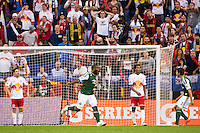 Bright Dike (19) of the Portland Timbers celebrates scoring. The New York Red Bulls  defeated the Portland Timbers 3-2 during a Major League Soccer (MLS) match at Red Bull Arena in Harrison, NJ, on August 19, 2012.