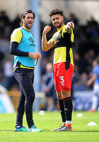 Blackburn Rovers' Danny Graham and Derrick Williams during the pre-match warm-up <br /> <br /> Photographer Ashley Crowden/CameraSport<br /> <br /> The EFL Sky Bet League One - Bristol Rovers v Blackburn Rovers - Saturday 14th April 2018 - Memorial Stadium - Bristol<br /> <br /> World Copyright &copy; 2018 CameraSport. All rights reserved. 43 Linden Ave. Countesthorpe. Leicester. England. LE8 5PG - Tel: +44 (0) 116 277 4147 - admin@camerasport.com - www.camerasport.com