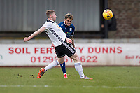 7th March 2020; Somerset Park, Ayr, South Ayrshire, Scotland; Scottish Championship Football, Ayr United versus Dundee FC; Declan McDaid of Dundee clears from  Jordan Houston of Ayr United