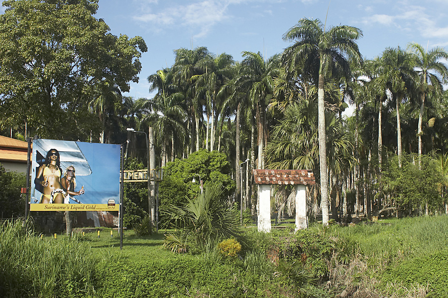 Entrance to the Palmentuin or palm garden in the capital city of Paramaribo, Suriname.