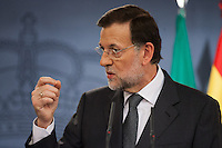 Mariano Rajoy, Spanish Prime Minister, answers a question in a press conference Hispanic-Italian meeting