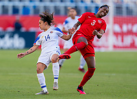 CARSON, CA - FEBRUARY 07: Priscila Chinchilla #14 of Costa Rica fouls Maria Paula Coto #3 of Canada during a game between Canada and Costa Rica at Dignity Health Sports Park on February 07, 2020 in Carson, California.