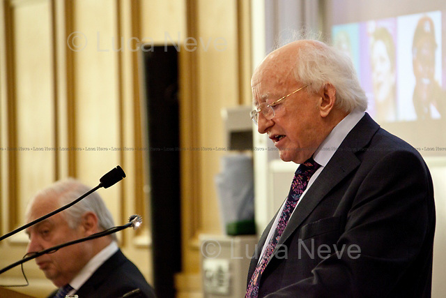Michael D. Higgins (President of Ireland).<br /> <br /> London, 21/02/2012. Today LSE (London School of Economics) presented a public lecture called &quot;Of Public Intellectuals, Universities, and a Democratic Crisis&quot; hosted by Michael D. Higgins (President of Ireland, poet, writer, academic, statesman, Human Rights advocate, former first Irish Minister for Arts and Culture). Chair of the event was Peter Sutherland (Irish international businessman, chairman of Goldman Sachs International and Chair of London School of Economics).