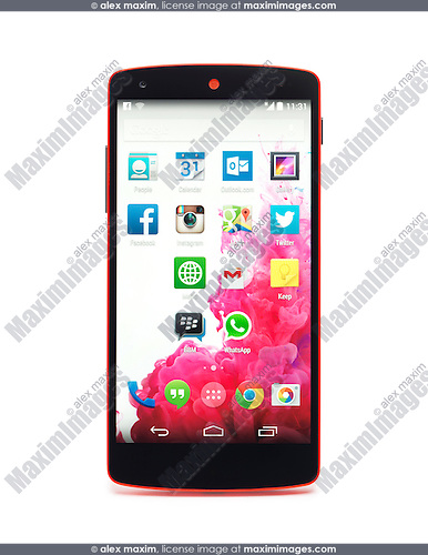 Google Android Nexus 5 phone isolated on white background with clipping path