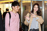 Korean singer Im Yoona (L) arrives at Tokyo International Airport on April 20, 2016, Tokyo, Japan. A small group of fans were waiting to greet Yoona upon her arrival. Yoona is among the international celebrities who will be attending the Louis Vuitton exhibition opening event on 4/21. (Photo by Rodrigo Reyes Marin/AFLO)