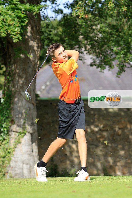 Karl Byrne (Grange) on the 2nd tee during Round 1 of the Grange Dublin Boys on Monday 21th July 2014.<br /> Picture:  Thos Caffrey / www.golffile.ie