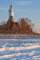 Cana Island Lighthouse sits in Winter Morning Light, Door County, Wisconsin
