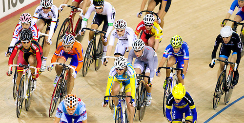17 FEB 2012 - LONDON, GBR - Competitors racing during the Women's Scratch Race during the UCI Track Cycling World Cup, and London Prepares test event for the 2012 Olympic Games, in the Olympic Park Velodrome in Stratford, London, Great Britain .(PHOTO (C) 2012 NIGEL FARROW)