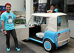 "May 20, 2016, Tokyo, Japan - Japanese car designer Kota Nezu (L) displays the prototype model of the electric powered personal mobility ""rimOnO"" in Tokyo on Friday, May 20, 2016. The rimOnO, 2m in length and 1m wideth, is equipped with in-wheel motors to drive two seater light weight body which is made by soft materials.  (Photo by Yoshio Tsunoda/AFLO) LWX -ytd-"