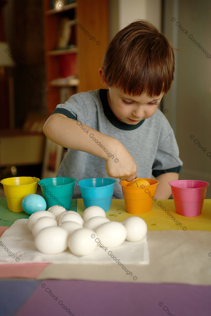 Photo of happy young boy coloring Easter eggs with several cups of eggs in different, brightly colored dye.