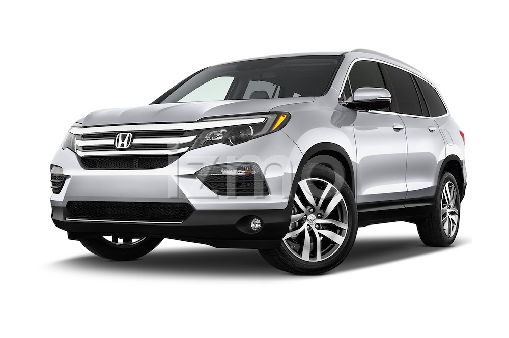 Stock pictures of low aggressive front three quarter view of 2016 Honda Pilot Touring 5 Door Suv Low Aggressive
