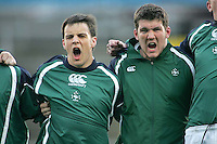 Ireland's Harry McAleese and Matthew Nelson sing 'Ireland's Call' before the Division A clash against Scotland in the U19 World Championship at Ravenhill.