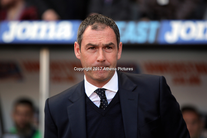 SWANSEA, WALES - APRIL 22: Manager of Swansea City, Paul Clement in the dug out during the Premier League match between Swansea City and Stoke City at The Liberty Stadium on April 22, 2017 in Swansea, Wales. (Photo by Athena Pictures/Getty Images)