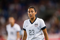United States (USA) forward Christen Press (23). The women's national team of the United States defeated the Korea Republic 5-0 during an international friendly at Red Bull Arena in Harrison, NJ, on June 20, 2013.