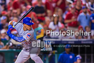 7 October 2017: Chicago Cubs catcher Willson Contreras at bat against the Washington Nationals at Nationals Park in Washington, DC. The Nationals defeated the Cubs 6-3 and even their best of five Postseason series at one game apiece. Mandatory Credit: Ed Wolfstein Photo *** RAW (NEF) Image File Available ***