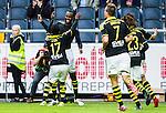 Solna 2015-07-12 Fotboll Allsvenskan AIK - GIF Sundsvall :  <br /> AIK:s Henok Goitom firar sitt 3-1 m&aring;l med Ebenezer Ofori under matchen mellan AIK och GIF Sundsvall <br /> (Foto: Kenta J&ouml;nsson) Nyckelord:  AIK Gnaget Friends Arena Allsvenskan GIF Sundsvall Giffarna jubel gl&auml;dje lycka glad happy