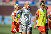 Houston, TX - Saturday May 13, Houston Dash goalkeeper Jane Campbell (1) leaves the field at the end of the 1st half during a regular season National Women's Soccer League (NWSL) match between the Houston Dash and Sky Blue FC at BBVA Compass Stadium. Sky Blue won the game 3-1.