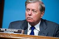 """United States Senator Lindsey Graham (Republican of South  Carolina), Chairman, US Senate Judiciary Committee, is seen during the US Senate Judiciary Committee hearing titled """"Examining Best Practices for Incarceration and Detention During COVID-19,"""" in Dirksen Building in Washington, D.C. on Tuesday, June 2, 2020.<br /> Credit: Tom Williams / Pool via CNP/AdMedia"""