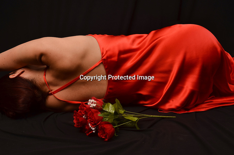 Stock Photo of Woman in Red Dress