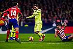 Lionel Messi of FC Barcelona (C) fights for the ball with Jorge Koke of Atletico de Madrid (R) during the La Liga 2018-19 match between Atletico Madrid and FC Barcelona at Wanda Metropolitano on November 24 2018 in Madrid, Spain. Photo by Diego Souto / Power Sport Images
