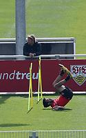 21st April 2020; Stuttgart, Germany  VfB Stuttgart Training:  Sven Mislintat (Sports director) watches Nicolas Gonzalez Training during the covid-19 pandemic