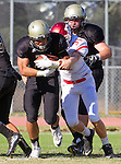 Palos Verdes, CA 10/21/16 - Jeffrey Jimena (Peninsula #6) and \r31\ in action during the CIF Southern Section Bay League Redondo Union - Palos Verdes Peninsula game at Peninsula High School.
