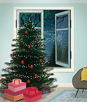 Presents under Christmas tree at home at night ExclusiveImage
